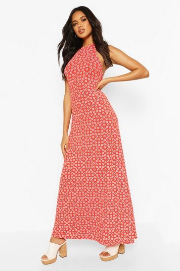 Orange Halter Neck Daisy Print Maxi Dress