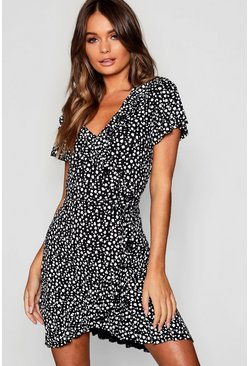 Black Dalmatian Wrap Front Ruffle Tea Dress