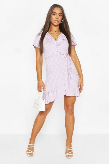 Lilac Polka Dot Wrap Front Ruffle Tea Dress