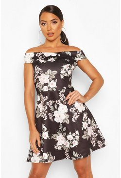 Black Floral Print Off The Shoulder Skater Dress