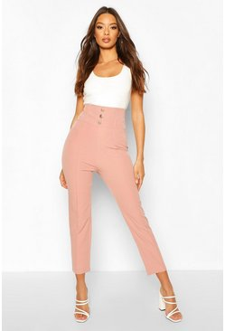 Blush Deep Waistband Button Trouser