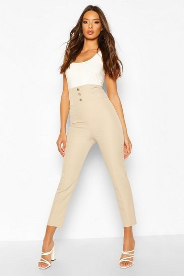Stone Deep Waistband Button Trouser