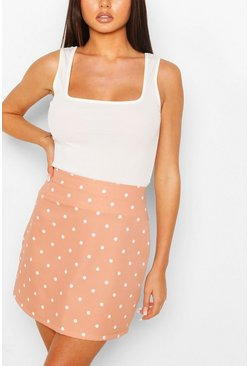 Pink Pastel Polka Dot A Line Mini Skirt
