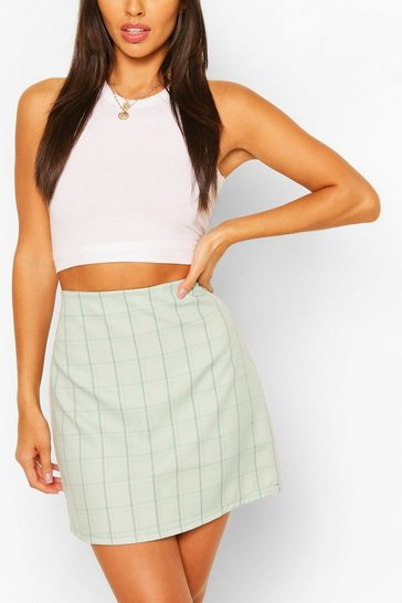 Sage Pastel Check A Line Mini Skirt