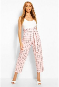 Pink Pastel Check Paperbag Waist Tailored Pants
