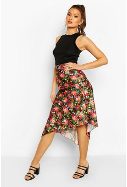 Black Bright Floral Satin Asymetric Midi Skirt
