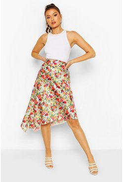 Ivory Bright Floral Satin Asymetric Midi Skirt