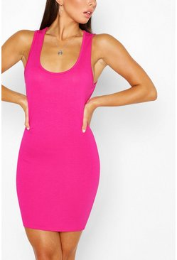 Hot pink Scoop Neck Sleeveless Bodycon Dress