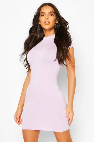 Lilac High Neck Cap Sleeve Bodycon Dress