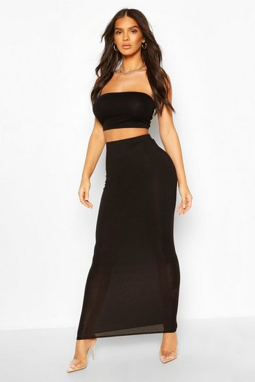 Black Basic Bodycon Midaxi Skirt