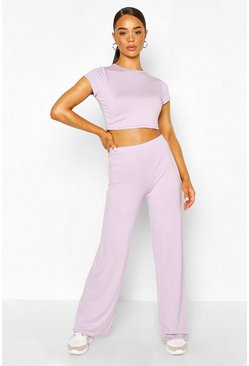 Lilac High Waist Wide Leg Trouser