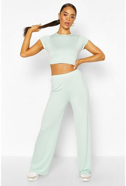 High Waist Wide Leg Trouser, Mint