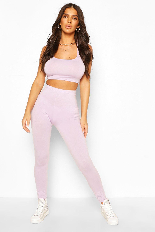 womens basic high waist legging - purple - 4