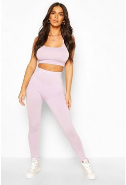 Schlichte high-waist Leggings, Flieder