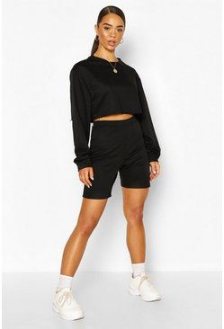 Black Long Line Loopback Boyfriend Shorts