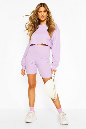 Lilac Long Line Loopback Boyfriend Shorts