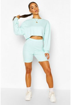 Mint Long Line Loopback Boyfriend Shorts