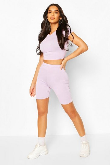 Lilac High Waist Cycling Shorts