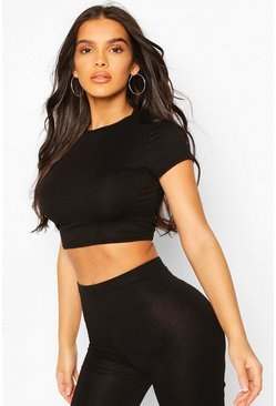 Black Crew Neck Cap Sleeve Crop Top