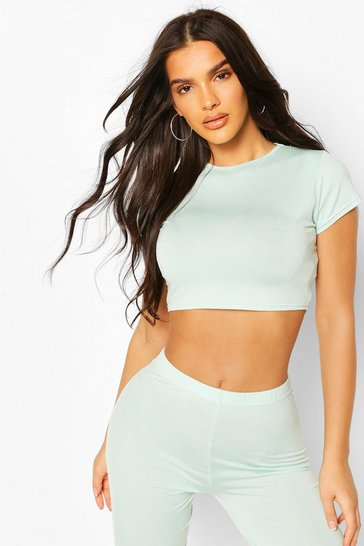 Mint Crew Neck Cap Sleeve Crop Top
