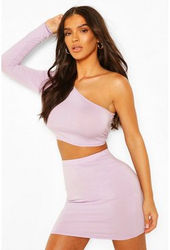 Lilac One Shoulder Crop Top