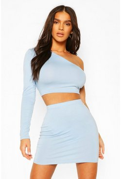 Pale blue One Shoulder Crop Top