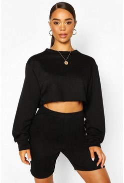 Black Crew Neck Raw Hem Cropped Sweat Top
