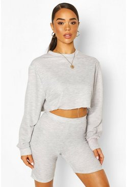 Grey Crew Neck Raw Hem Cropped Sweat Top