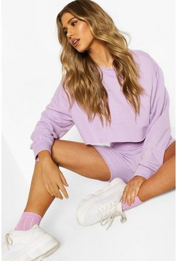 Lilac Crew Neck Raw Hem Cropped Sweat Top
