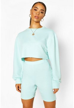 Mint Crew Neck Raw Hem Cropped Sweat Top