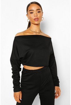 Off Shoulder Cropped Sweat Top, Black