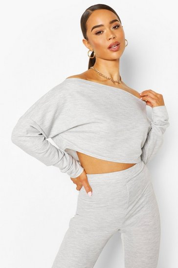 Grey Off Shoulder Cropped Sweat Top