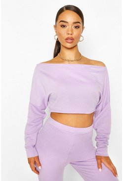 Lilac Off Shoulder Cropped Sweat Top