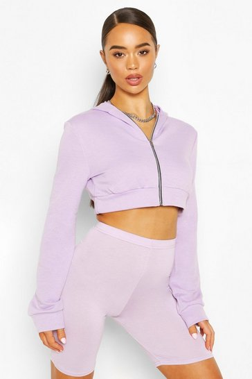 Lilac Zip Through Cropped Hoody