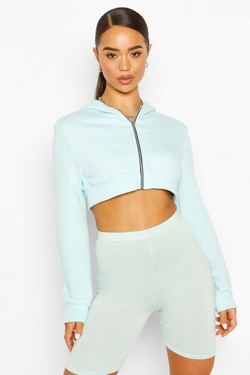 Mint Zip Through Cropped Hoody