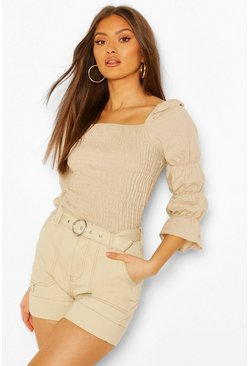 Stone Linen Shirred Ruched Sleeve Top