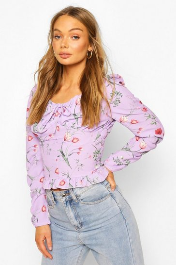 Lilac Floral Print Tie Front Frill Detail Top