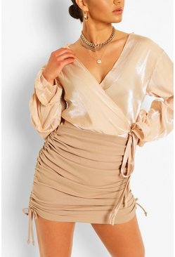Champagne Metallic Puff Sleeve Wrap Blouse