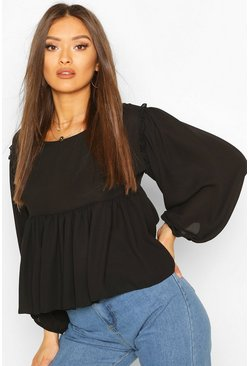 Black Frill Detail Smock Top
