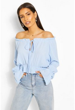 Turquoise Woven Flare Sleeve Off The Shoulder Top