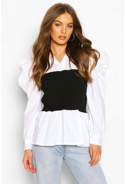 White Rib Panel Contrast Puff Sleeve Shirt