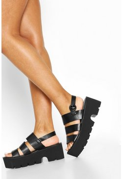Black Triple Strap Cleated Sandals