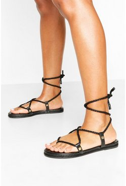 Black Rope Tie Sandals