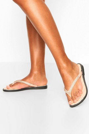 Nude Diamante Trim Flip Flops