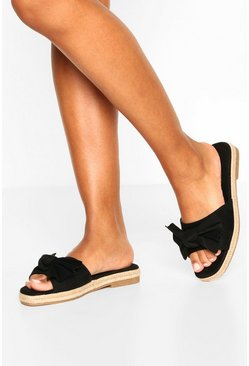 Black Bow Front Espadrille Sliders