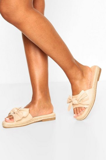 Natural Bow Front Espadrille Sliders