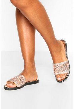 Rose gold Embellished Sliders
