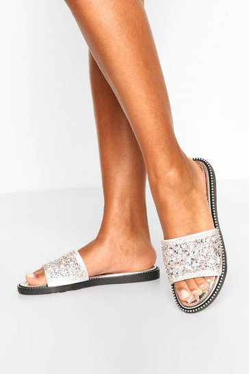 Silver Embellished Sliders