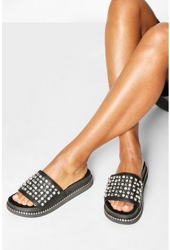 Black Stud & Diamante Footbed Sliders