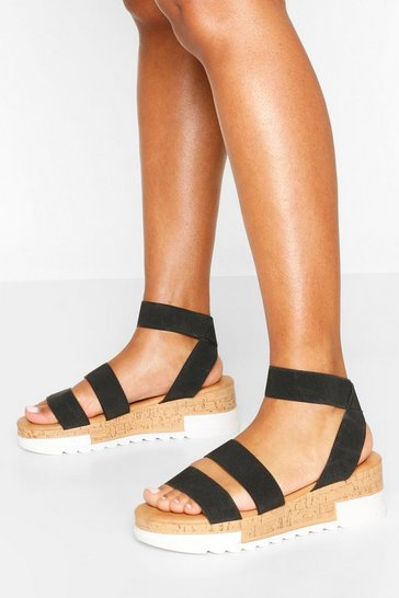 Black Chunky Elastic Strap Wedges